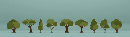 3d illustration of many different tress isolated