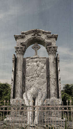 3d illustration of an old gotic tombstone  Stockfoto