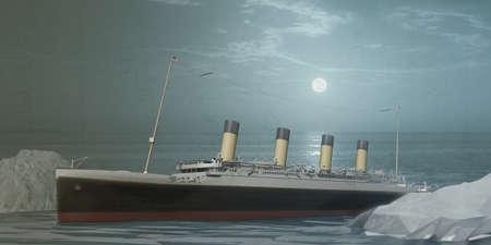 3d illustration of an old ocean liner  스톡 콘텐츠