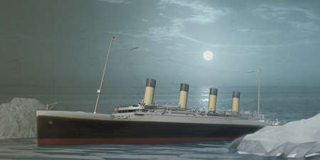 3d illustration of an old ocean liner  Stock fotó