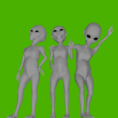 group of aliens isolated on green background 3d illustration Stock Photo