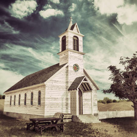 old wooden presbyterian church in the Texas desert 3d illustration  스톡 콘텐츠