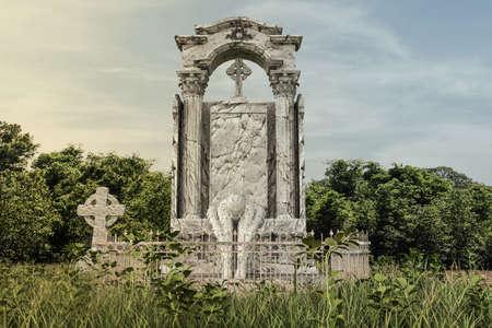 old huge abandoned tombostone 3d illustration