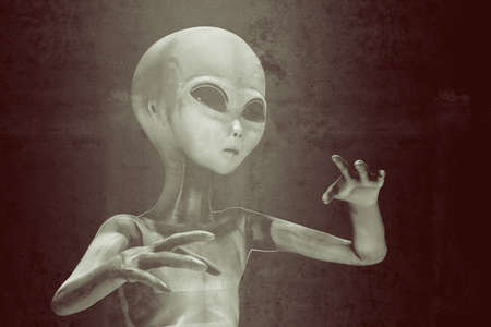 alien isolated on black background 3d illustration