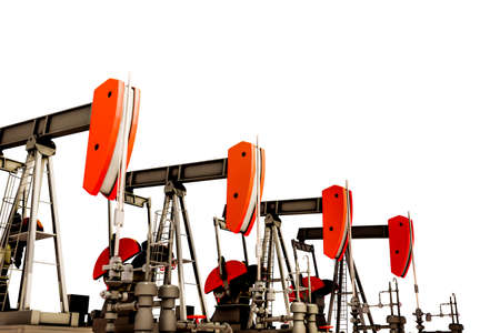 oil pumps isolated on white background 3d illustration