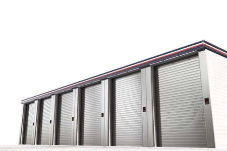 Self storage units isolated on white background 3d illustration