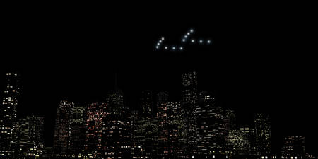 ufo flying over a huge city in the night 3d illustration