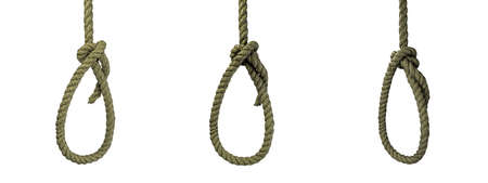 hanged noose isolated on white background 3d illustration
