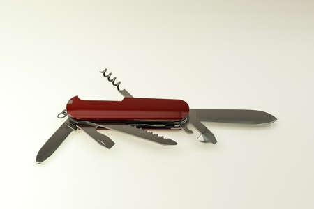 pocket knife isolated on white background 3d illustration