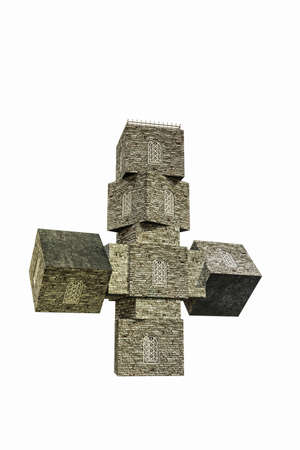 church cross shaped isolated on white background 3d illustration Stock Photo