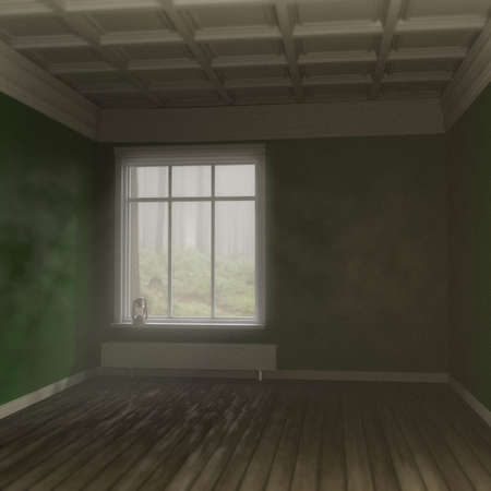 empty room in the woods 3d illustration
