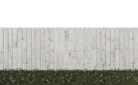 wooden fence isolated on white background 3d illustration 스톡 콘텐츠