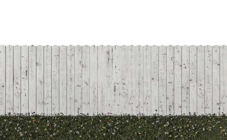 wooden fence isolated on white background 3d illustration Stockfoto
