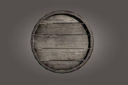 wooden barrel isolated on grey background 3d illustration