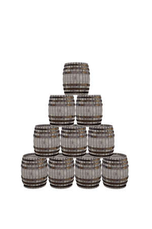 wooden barrels isolated on white background 3d illustration Stock Photo