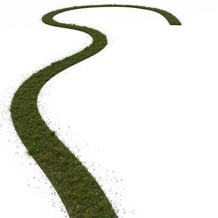grass path isolated on white background 3d illustration Stockfoto