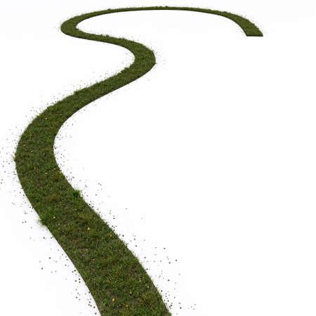 grass path isolated on white background 3d illustration Zdjęcie Seryjne