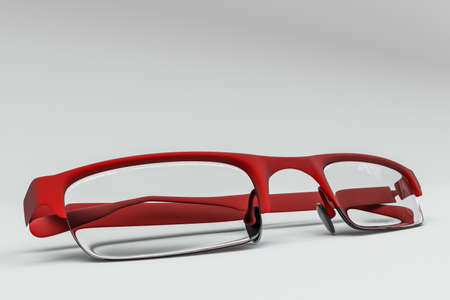 red glasses isolated on white background 3d illustration