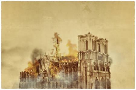 Notre Dame Cathedral burning 3d illustration Stock Photo