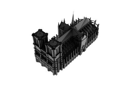 Sketch of Notre Dame Cathedral silhouette isolated on white background 3d illustration Reklamní fotografie