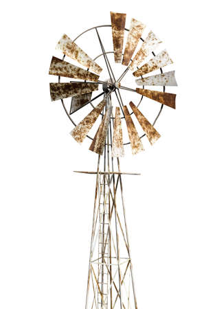 rusty windmill isolated on white background 3d illustration Banco de Imagens