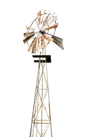 rusty windmill isolated on white background 3d illustration 写真素材