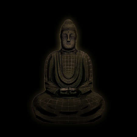 buddha statue isolated on black background 3d illustration Stock Photo