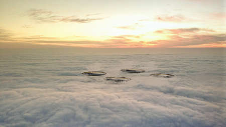 ufo flying above clouds 3d illustration