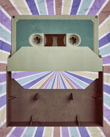 Cassette Tape on radial retro background 3d illustration