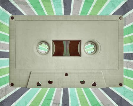Cassette Tape on radial retro background 3d illustration