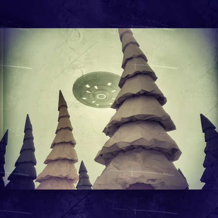 Low poly ufo flying over woods 3d illustration