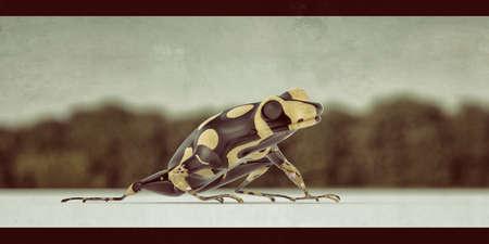 Small poison frog on white plane 3d illustration Reklamní fotografie - 124480322