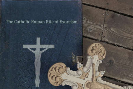 exorcism book on wooden floor 3d illustration Imagens
