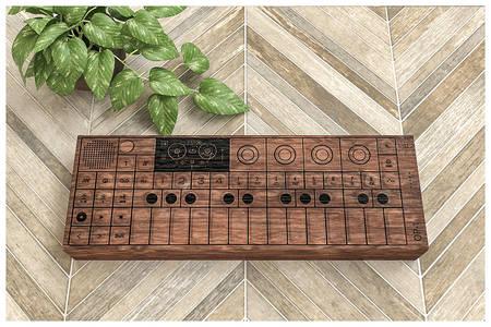 synthesizer wooden case on ceramic floor 3d illustration