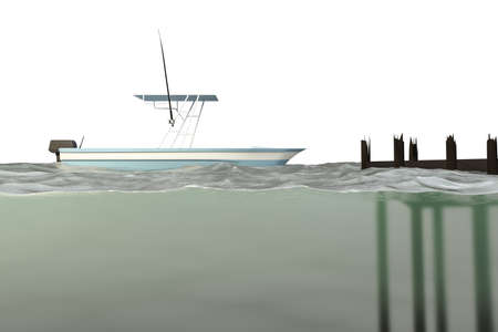 boat sails on a water section 3d illustration