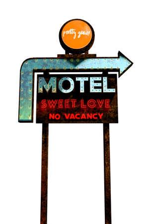 motel sign isolated on white background 3d illustration