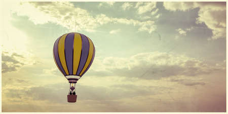 hot air balloon flying in the sky 3d illustration