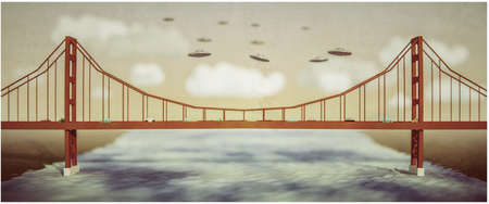 ufo flying over a famous bridge 3d illustration 写真素材