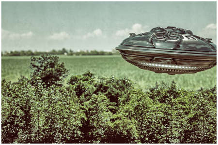 ufo flying over the wood 3d illustration