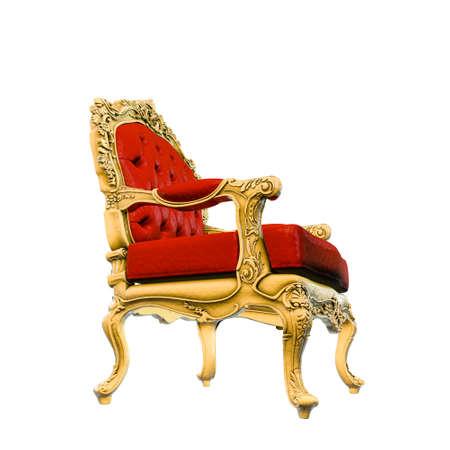 königlicher Sessel isoliert auf weißem Hintergrund 3D-Darstellung Standard-Bild