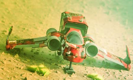 rusty spaceship on mars terrain 3d illustration