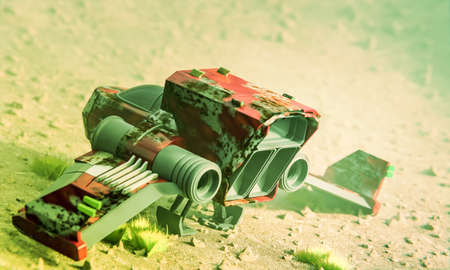 rusty spaceship on mars terrain 3d illustration Banco de Imagens - 132031631