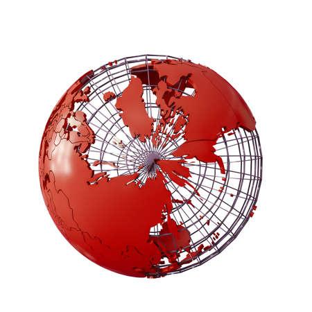 wireframmed globe earth isolated on white background 3d illustation Banco de Imagens