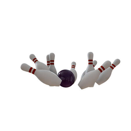 bowling pins with ball isolated on white background 3d illustration 版權商用圖片