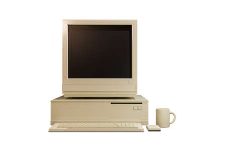 old computer isolated on white background 3d illustration 版權商用圖片