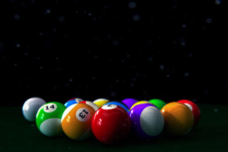 set of pool balls on green table 3d illustration Archivio Fotografico - 132031823