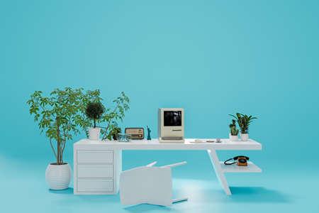 old personal computer on a modern desk 3d illustration