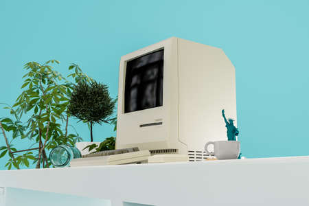 old personal computer on a modern desk 3d illustration