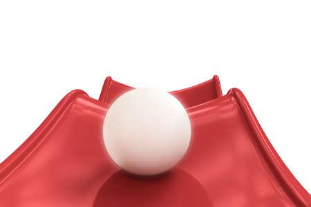 white sphere on red slide isolated on white background Zdjęcie Seryjne