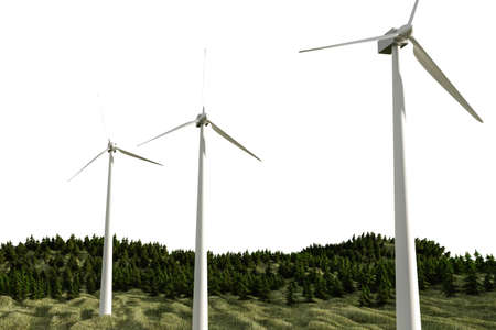 3d illustration of windmill turbine generator tower